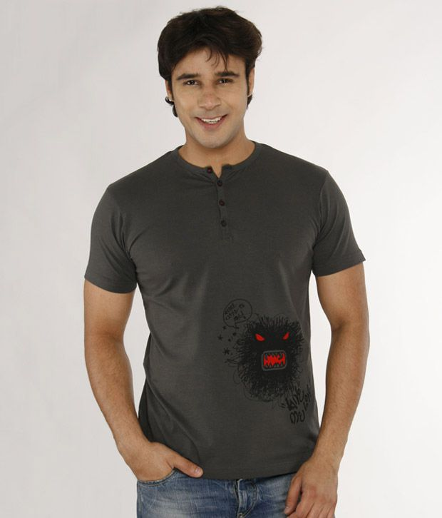 A for F Grey Henley Neck T-Shirt