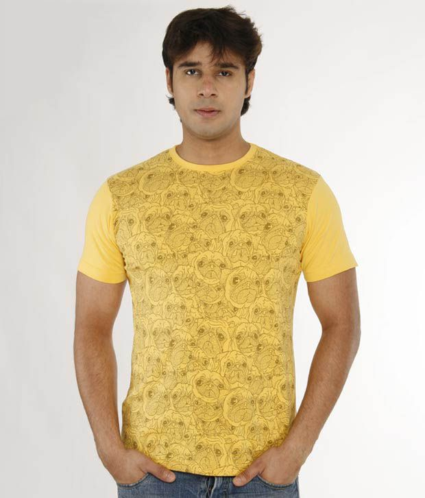 A for F Yellow Cotton Lycra T-Shirt