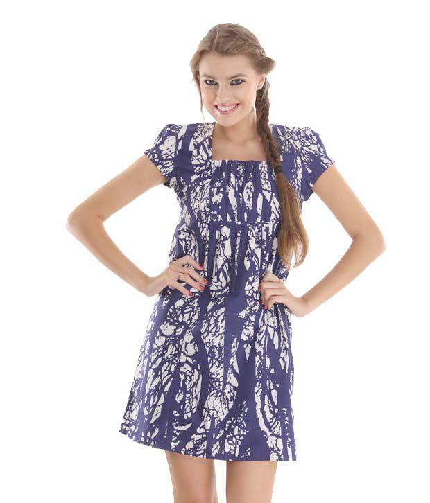 Latin Quarters Winsome Indigo Blue-White Dress