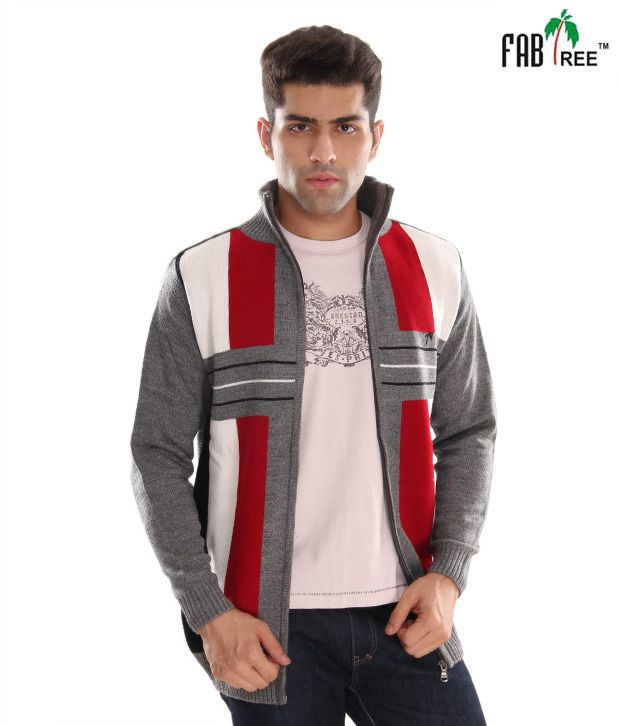 Fabtree Red & Grey Striped Men's Sweater
