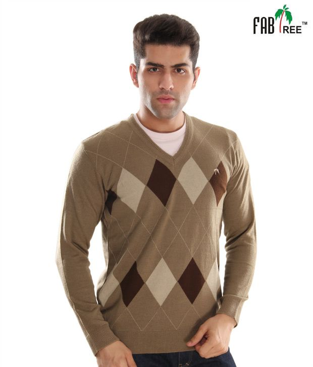 Fabtree Light Brown V-Neck Sweater