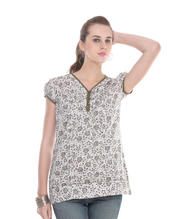 Style Quotient Green Poly Cotton Tops