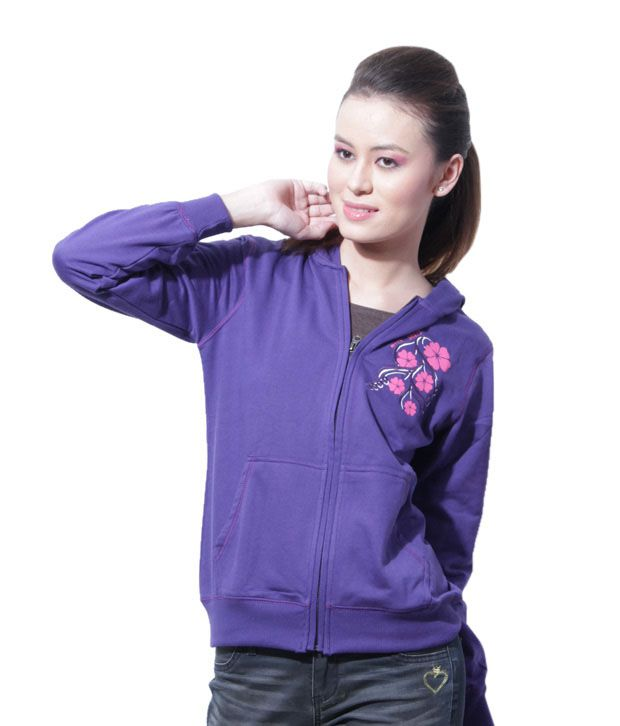 Fort Collins Purple Zipper Hooded Sweatshirt