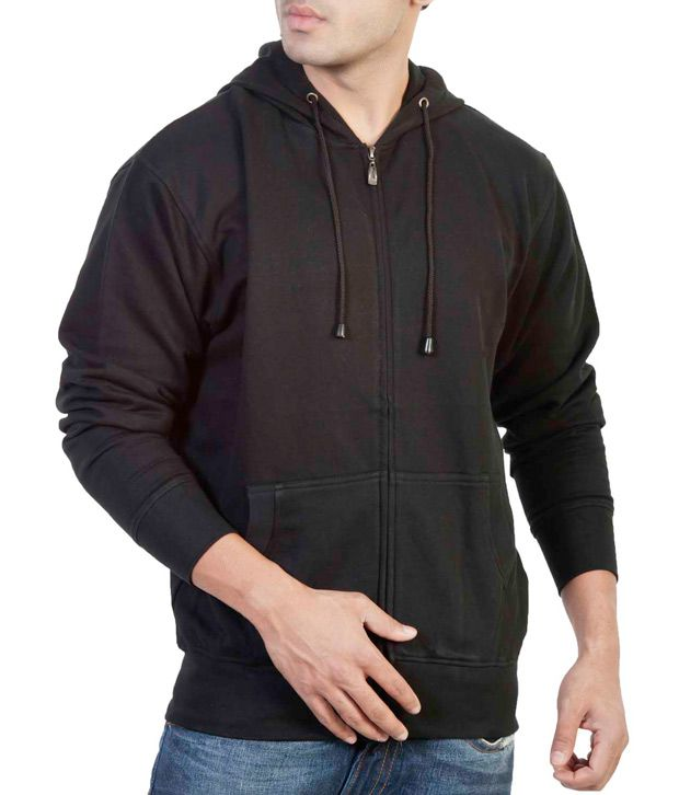 The Indian Garage Co. Black Hooded Sweat Shirt With Zip