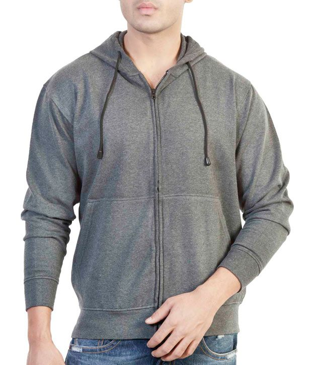 The Indian Garage Co. Grey Melange Hooded Sweat Shirt With Zip