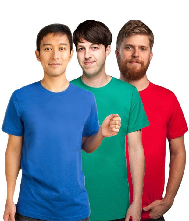 Loveusale RoyalBlue-Green-Red Pack of 3 Round Neck T shirts