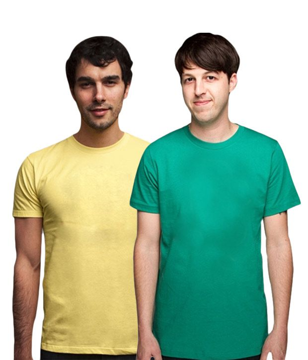 Loveusale Green-Yellow Pack of 2 Round Neck T shirts
