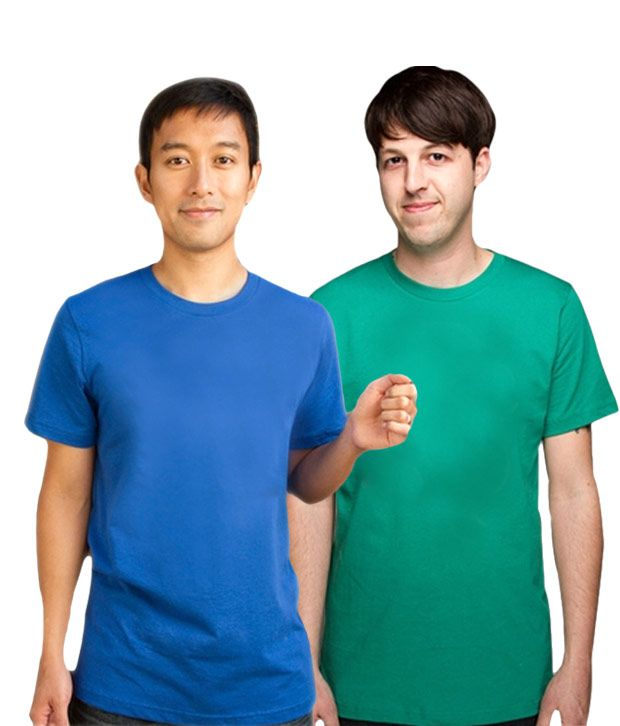 Loveusale RoyalBlue-Green Pack of 2 Round Neck T shirts