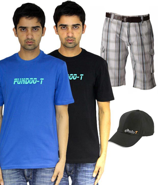 Fundoo T Black-Royal Blue-Yellow Pack of Tshirt-Short-Cap