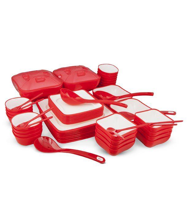 Nayasa Square Red Dinner Set- 58 Pcs