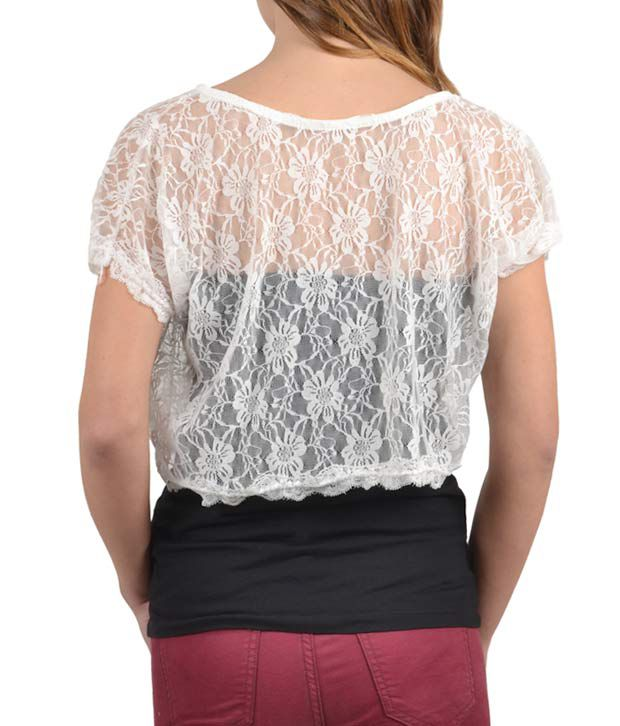ce8ef191744 Fab Alley Angelic White Lace Crop Top - Buy Fab Alley Angelic White ...