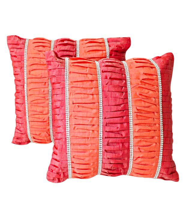 Dekor World Set of 2 Peach & Pink Stripe Cushion Covers (16x16 inches)