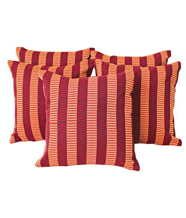 Dekor World Cushion Covers With Maroon & Rust Stripes- Set of 5 (16x16 inches)