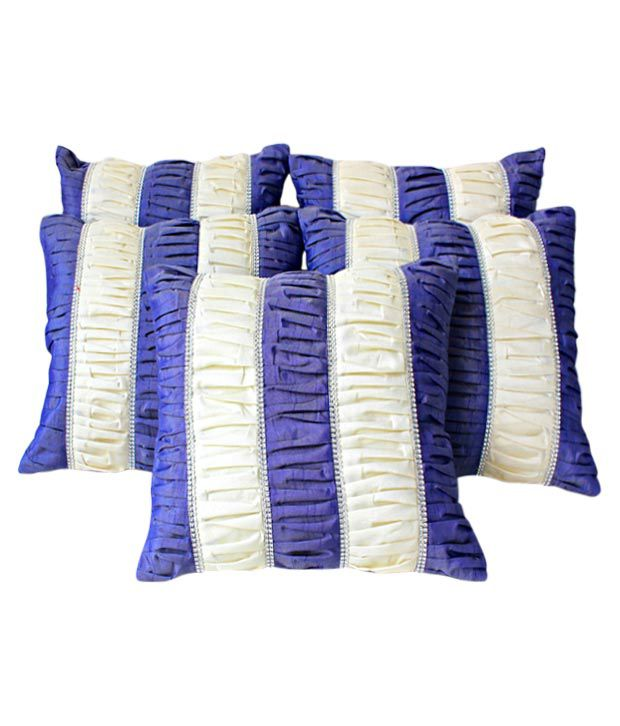 Dekor World Cushion Covers With Purple & Cream Stripes- Set of 5 (16x16 inches)