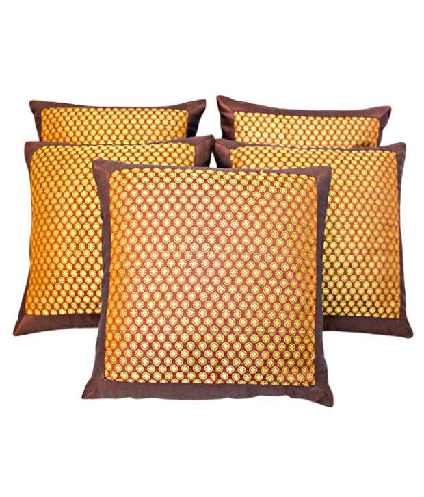 Dekor World Brown Cushion Covers With Ethnic Design- 5 Pcs
