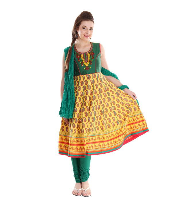 G Yellow-Green Cotton Anarkali Suit With Dupatta