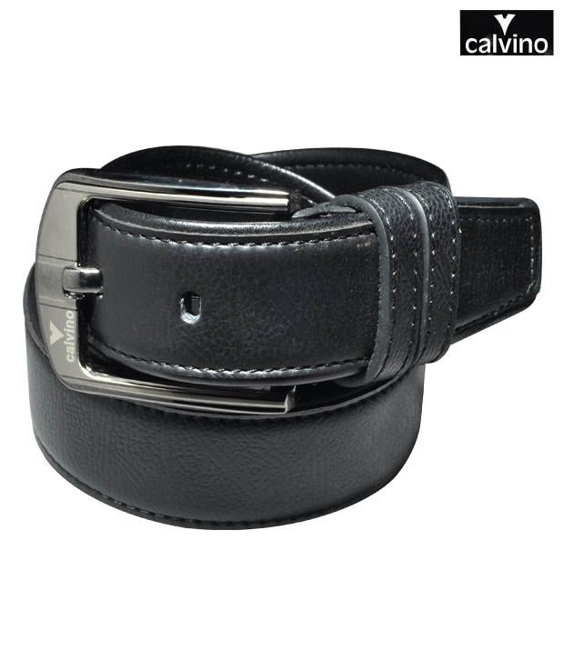 Calvino Black Textured Formal Belt