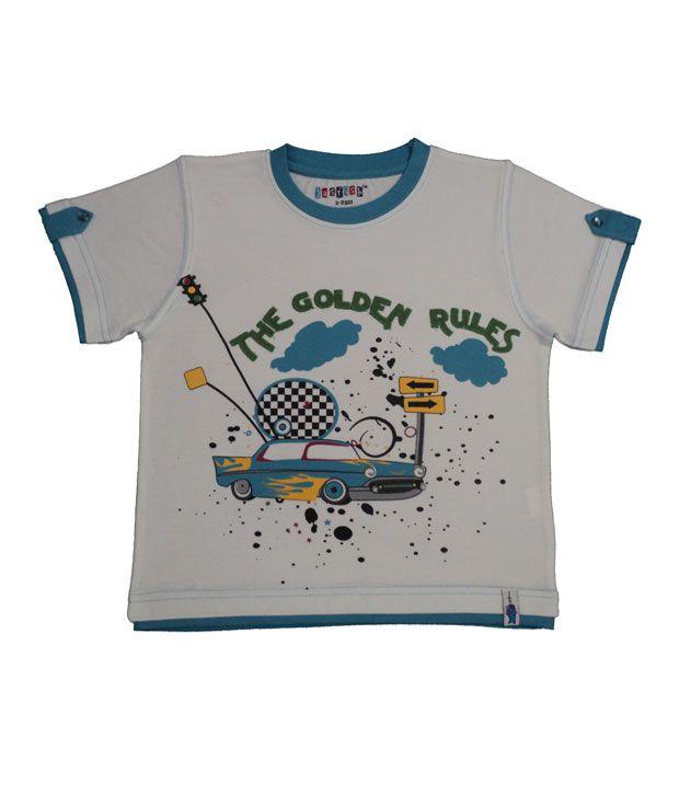JasfishRockStarWhite-BlueT-Shirt For Kids