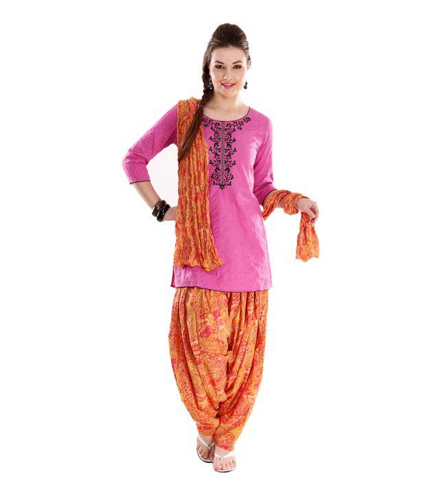 G Trendy Red Patiala Salwar With Dupatta