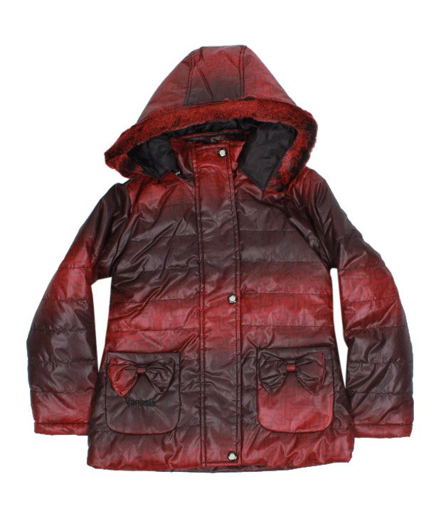 Fort Collins Red-Black Fur Hood Jacket For Kids