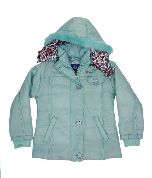 Fort Collins Sea Green Fur Hood Jacket For Kids