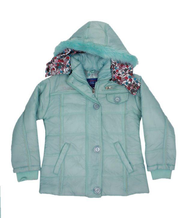 Fort Collins Sea Green Fur Hood Jacket For Kids