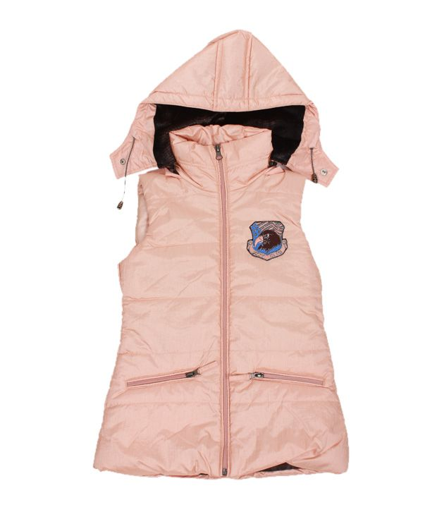 Fort Collins Cute Peach Hooded Jacket For Kids