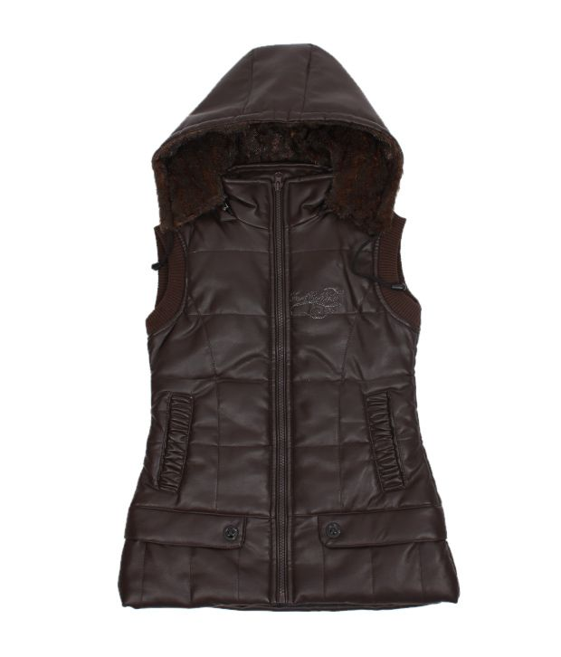 Fort Collins Classy Brown Hooded Jacket For Kids