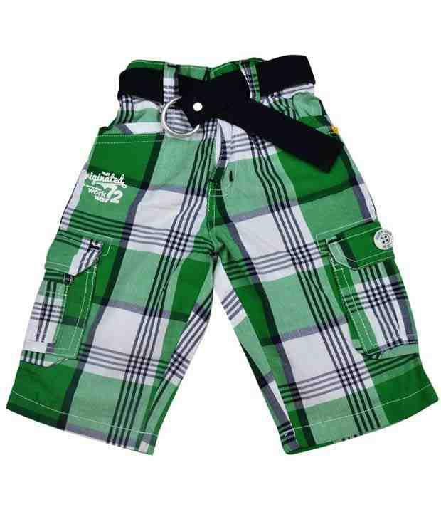 Ruff Green Checks Bermuda With Belt For Kids