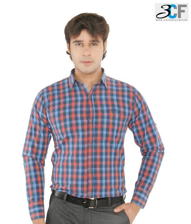 3CF Blue & Red Checkered Shirt