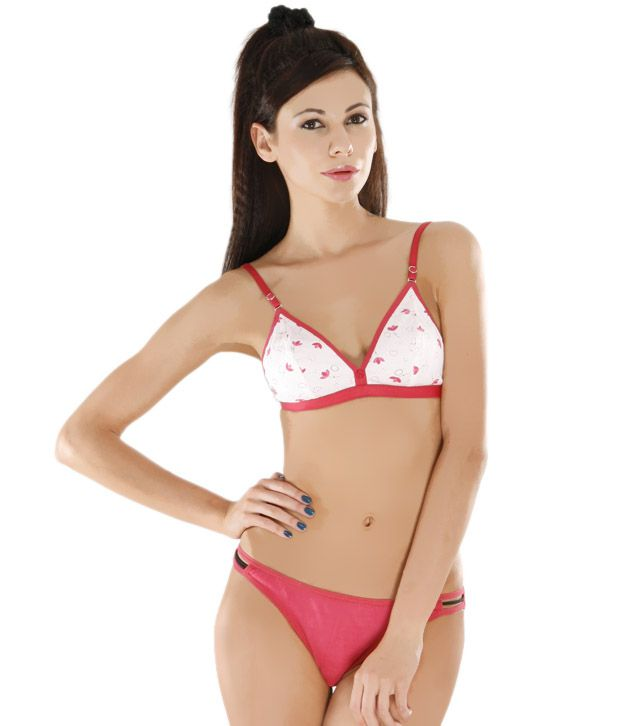 Buy Colors Perky Fuchsia Pink-White Bra   Panty Set Online at Best Prices  in India - Snapdeal 6f78669d7