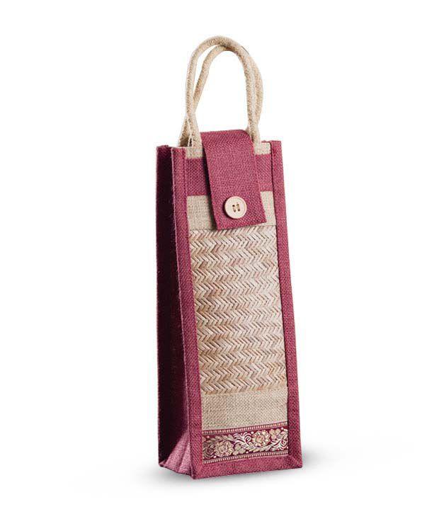 Aapno Rajasthan Pink Jute & Cane Bottle Handbag
