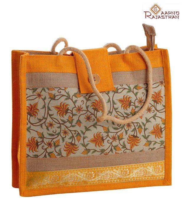 Aapno Rajasthan Orange & Brown Floral Print Handbag
