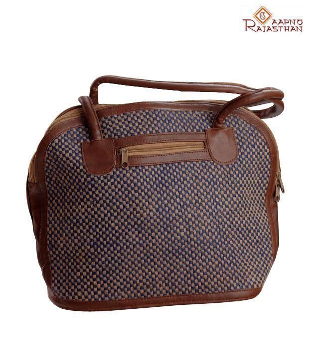 Aapno Rajasthan Brown Woven Checkered Handbag