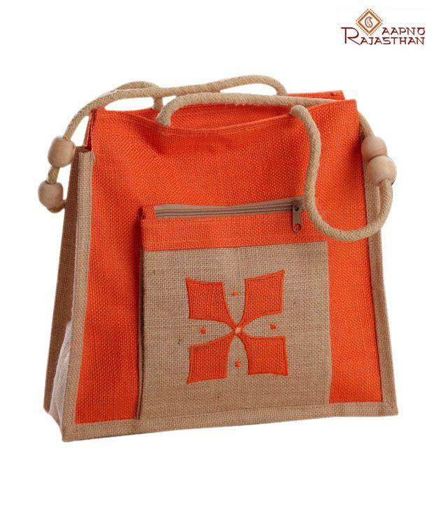 Aapno Rajasthan Orange & Beige Ethnic Design Handbag