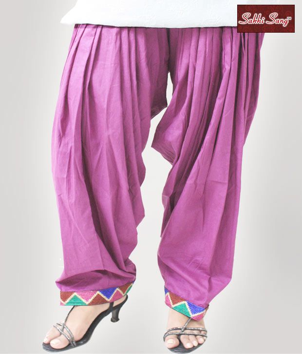 Sakhi Sang Red Violet Cotton Patiala Salwar