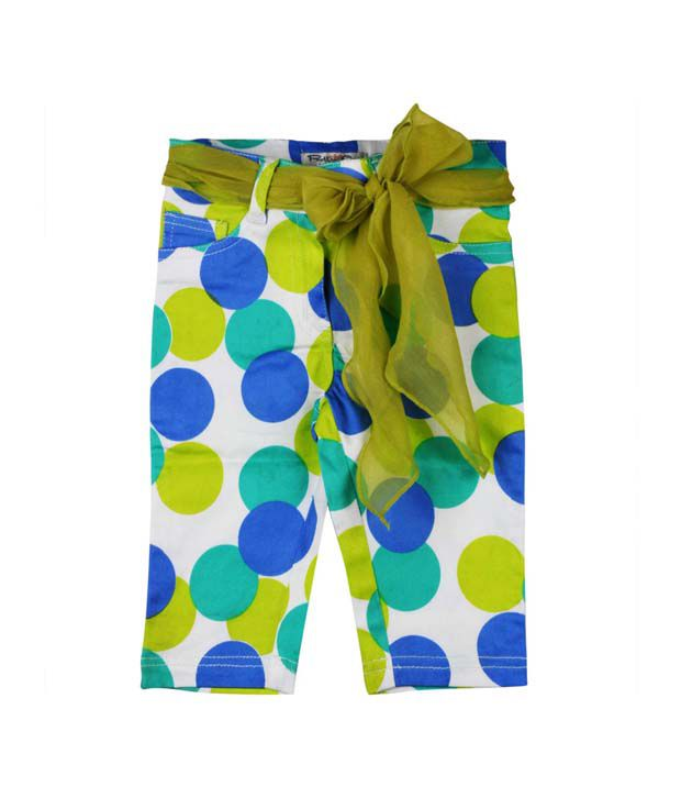 Pretty One Cotton Green and Blue Pant For Kids