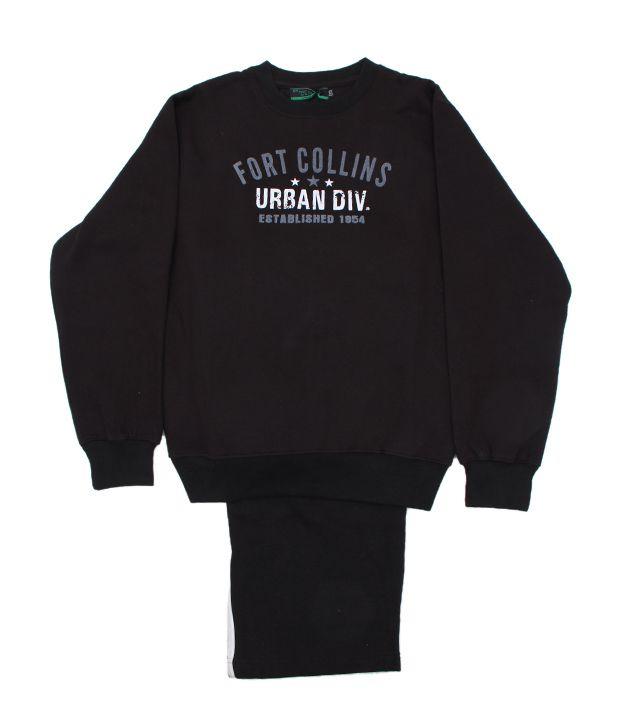 Fort Collins Comfy Black Tracksuit For Kids