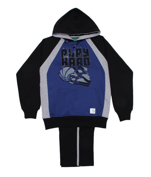 Fort Collins Black & Blue Tracksuit For Kids