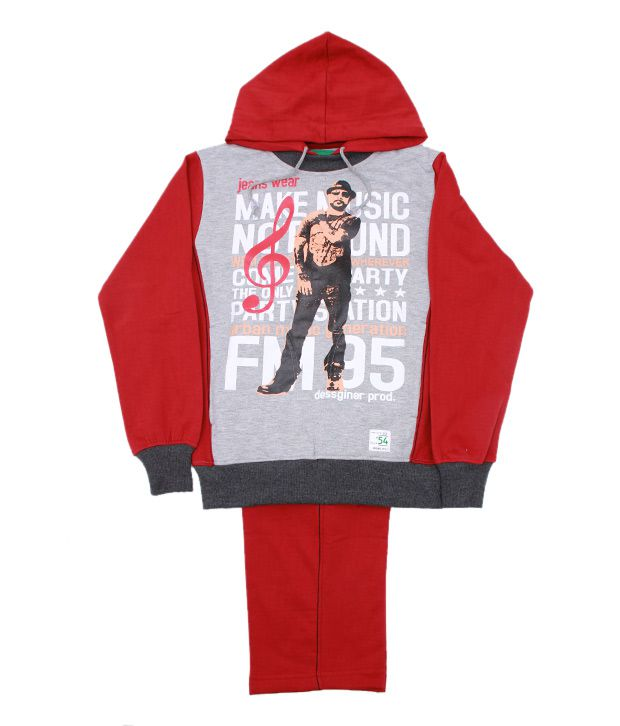 Fort Collins Red & Grey Tracksuit For Kids