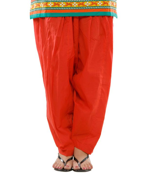 G Smart Red Plain Salwar