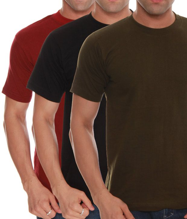 Absolut Zero Black- Green- Maroon Pack Of 3 T-Shirts