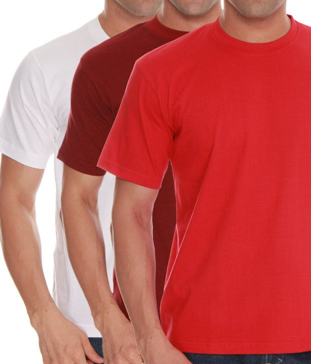 Absolut Zero White- Red- Maroon Pack Of 3 T-Shirts