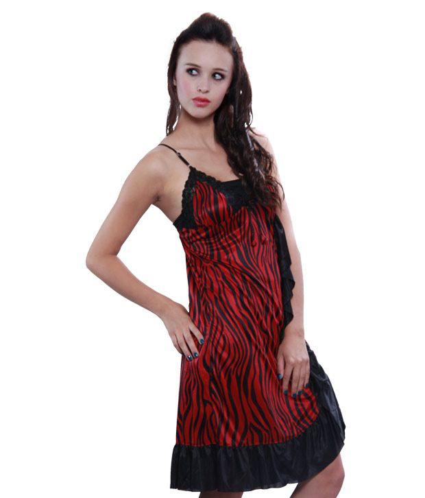478cb3fb63e Buy Klamotten Red   Black Babydoll Dress With Thong Online at Best ...