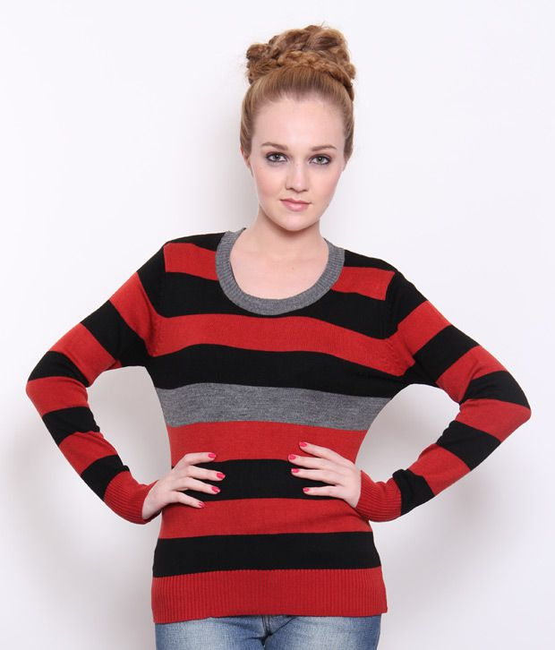 Fort Collins Red-Black Striped Woollen Top