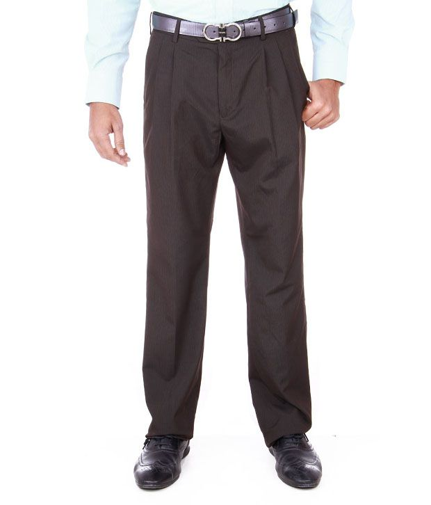 Peter England Dark Grey Formal Trouser