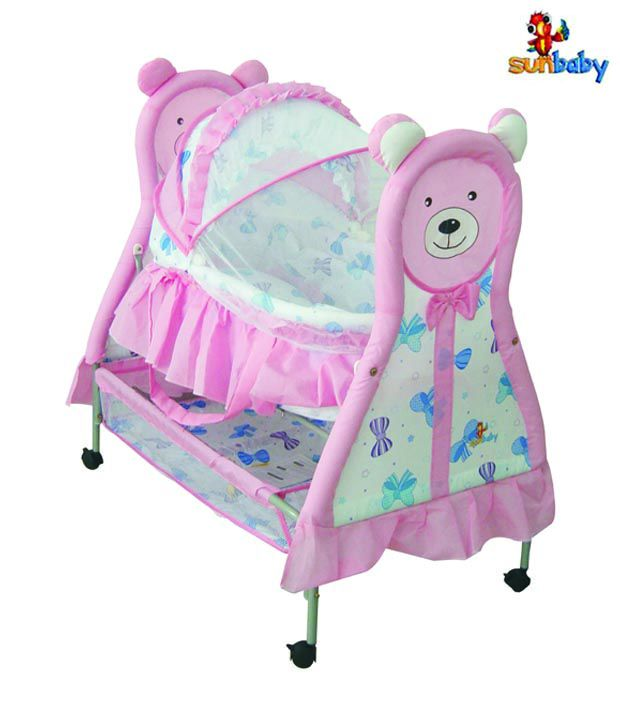 Sunbaby Pink Bear Baby Bassinet
