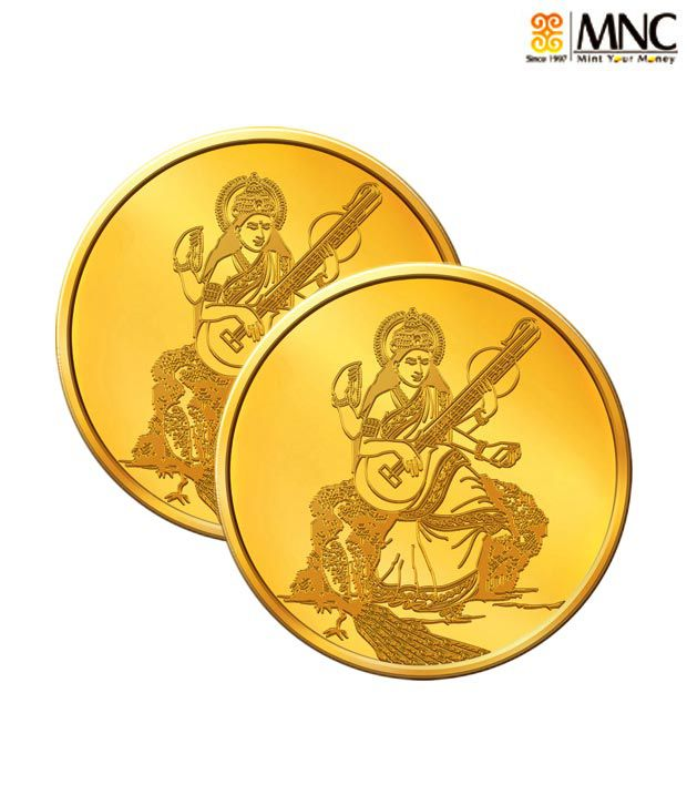 MNC 10 Gm 24kt Hallmarked Goddess Saraswati Gold Coin With 995 Fineness