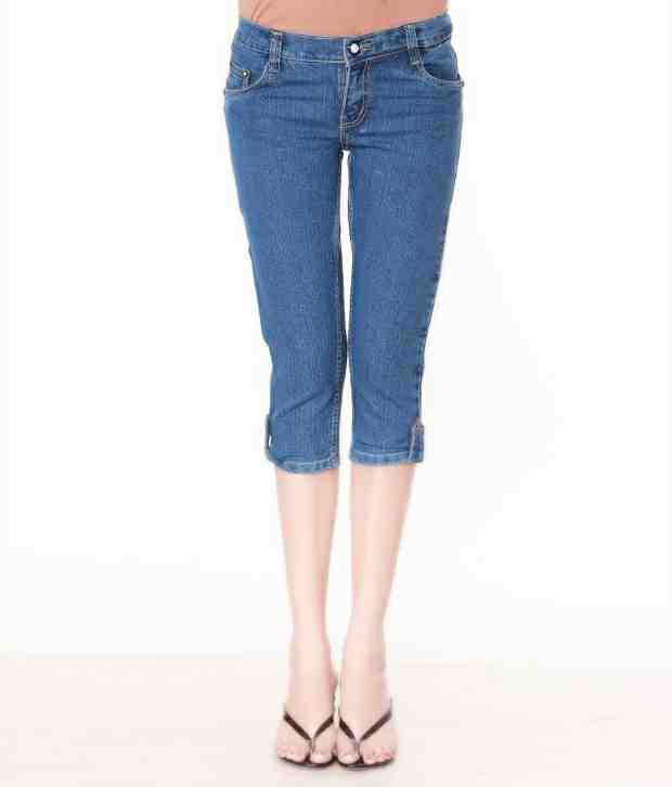 Lavennder Blue Denim Capris