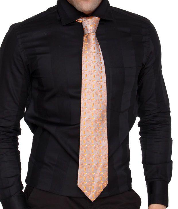 Marc Orange Floral Pure Silk Necktie